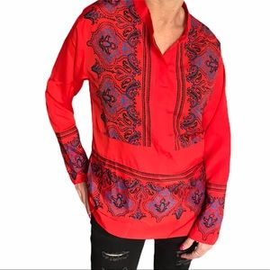 J Crew Factory red long sleeve blouse